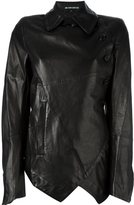 Ann Demeulemeester asymmetric jacket - women - Cotton/Leather/Polyamide/Virgin Wool - 36
