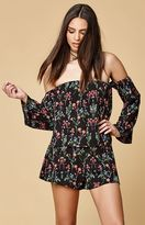 Honey Punch Floral Print Off-The-Shoulder Top