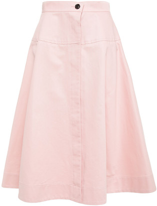 Marni Flared Cotton And Linen-blend Drill Skirt