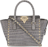 Valentino Rockstud mini crocodile leather tote