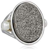 """Honora Rock Star"""" Freshwater Cultured Pearl and Agate Drusy Ring"""