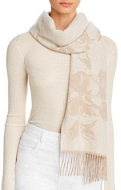Bloomingdale's C by Floral Cashmere Scarf - 100% Exclusive