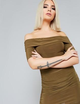 Public Desire Uk Khaki Slinky Bardot Dress