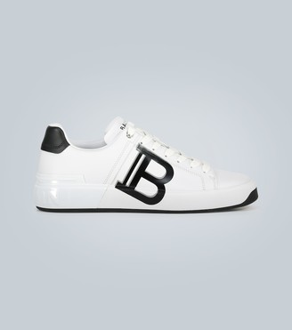 Balmain Leather low-top sneakers with logo