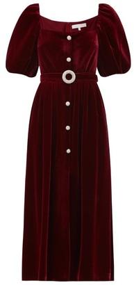 Borgo de Nor Hazel Crystal-button Velvet Midi Dress - Burgundy