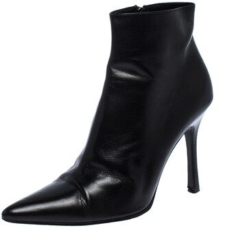 Gucci Black Leather Pointed Toe Ankle Boots Size 38