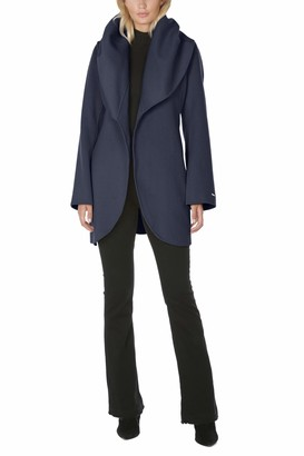 T Tahari Women's Double Face Wool Blend Wrap Coat with Oversized Collar
