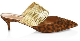 Aquazzura Rendez Vous Point-Toe Animal-Print Suede Mules