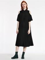 CK Calvin Klein Wool Cupro Twill Cut-Out Dress
