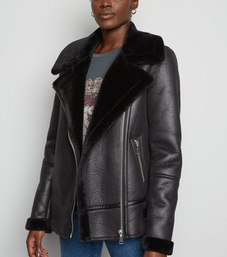 New Look Tall Leather-Look Aviator Jacket