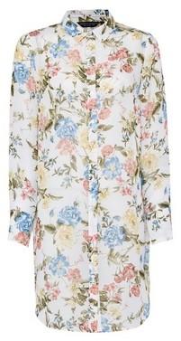 Dorothy Perkins Womens White Floral Print Longline Chiffon Shirt, White