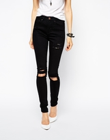 Asos Ridley High Waist Ultra Skinny Jeans in Clean Black with Thigh Rips and Busted Knees
