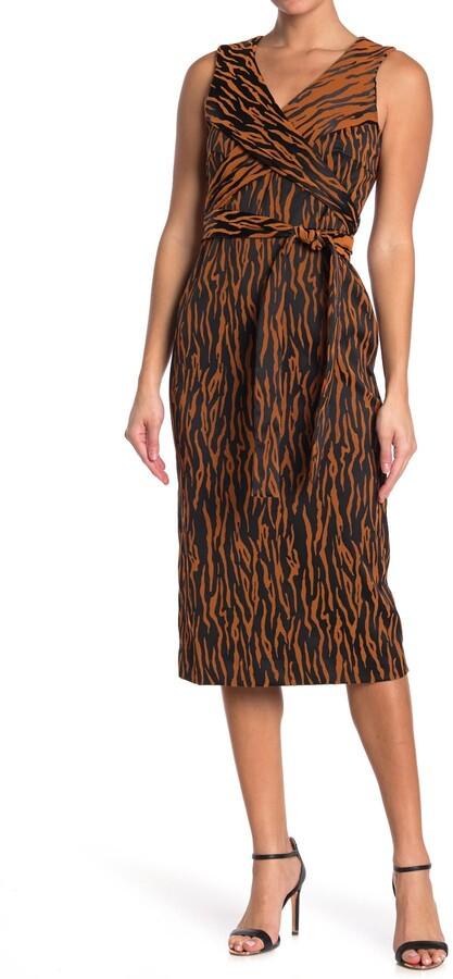 Diane von Furstenberg Rogue Animal Print Wrap Bodice Midi Dress