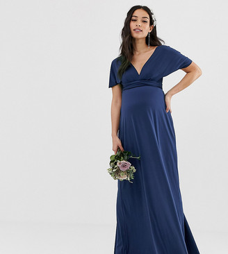 TFNC Maternity bridesmaid exclusive multiway maxi dress in navy