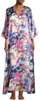 Christine Designs Blossoms Floral-Print Silk Caftan, Multi Pattern