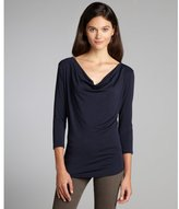 Laila Jayde midnight blue stretch jersey draped neck top