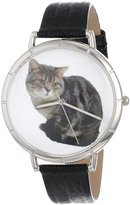 Whimsical Watches Women's T0120035 American Shorthair Cat Black Leather And Silvertone Photo Watch