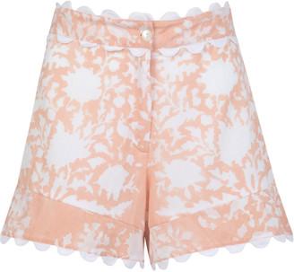 Juliet Dunn Scallop-Trimmed Palladio-Print Cotton High-Rise Shorts