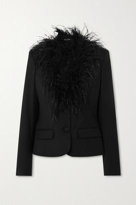 Oscar de la Renta Feather-trimmed Wool-blend Blazer - Black