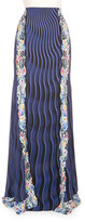 Mary Katrantzou High-Waist Mixed-Print Maxi Skirt, Snuffbox/Blue