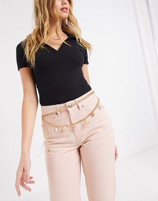 ASOS DESIGN charm chain waist and hip belt in gold