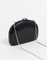 True Decadence black mock croc half moon clutch bag