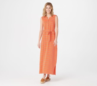 Denim & Co. Petite Striped Perfect Jersey Henley Maxi Dress