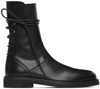 Ann Demeulemeester Black Leather Back Lace-Up Boots