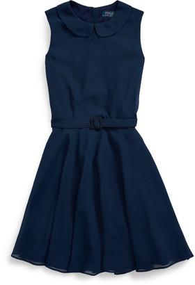 Ralph Lauren Belted Chiffon Dress