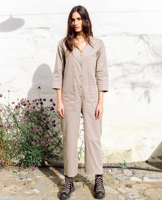 Beaumont Organic AW20 - Diana Organic Cotton Tencel Jumpsuit In Taupe - Taupe / Extra Small