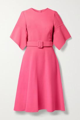 Oscar de la Renta Belted Wool-blend Gauze Dress - Pink