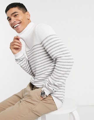 ASOS DESIGN knitted midweight half zip breton jumper in grey stripes