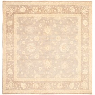 Ecarpetgallery Square Peshawar Oriental Hand-Knotted Wool Gray Area Rug