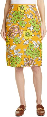 Tory Burch Floral Print Twill Pencil Skirt