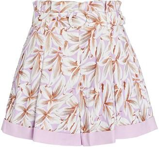 Jonathan Simkhai Lillian Belted Floral Paperbag Shorts