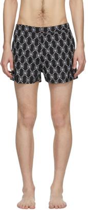 Neil Barrett Black and White Monogram Swim Shorts