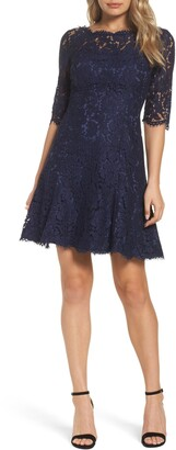 Eliza J Lace Fit & Flare Cocktail Dress