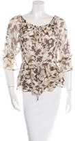 Alice + Olivia Silk-Blend Camouflage Print Top