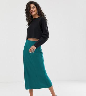 New Look Tall satin midi skirt in teal-Green