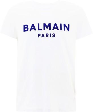 Balmain Flocked Logo Crewneck T-Shirt