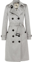 Burberry Brushed-cashmere Trench Coat - Gray