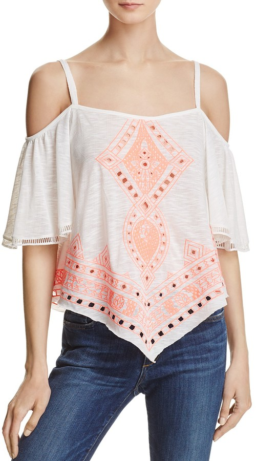 Freeway Embroidered Cold-Shoulder Top