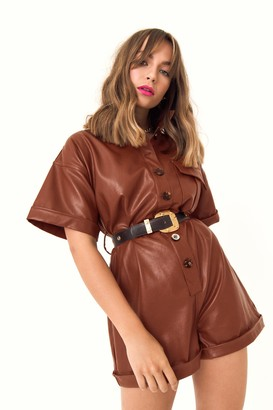 Nasty Gal Womens At One Faux Leather Button-Down Playsuit - brown - M/L