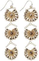Nakamol Crystal Triple-Drop Statement Earrings