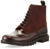 Giorgio Armani Suede & Leather Lace-Up Boot, Burgundy