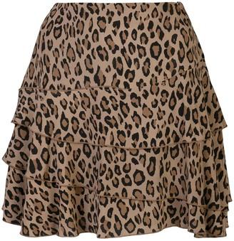 R 13 leopard-print A-line skirt