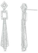 Zales 1/2 CT. T.W. Diamond Geometric Drop Earrings in 10K White Gold