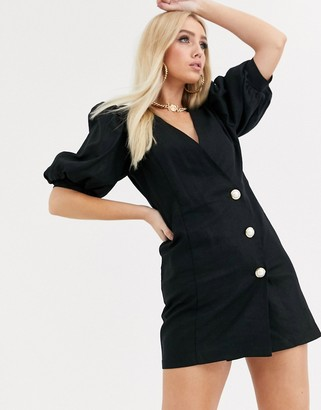 ASOS DESIGN puff sleeve linen mini dress with pearl buttons