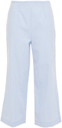 Staud X Solid & Striped Cropped Striped Cotton-seersucker Wide-leg Pants