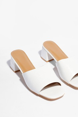 Nasty Gal Womens Mule It Over Croc Heeled Mules - White